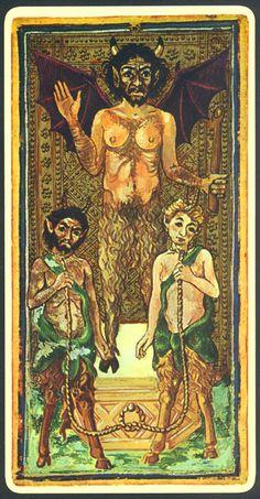 Arcane XV : Le Diable - Tarot Visconti-Sforza.