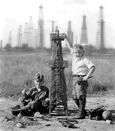 Iconic Texas - Here in Houston, we remember where we came from - These young oil tycoon hopefuls were playing in Houston's oil fields in the Oil & Gas businesses are real big here. Oilfield Trash, Oilfield Life, Only In Texas, Loving Texas, Texas Pride, Oil Rig, Texas History, Portraits, Thing 1