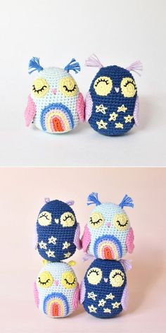 Adorable Crochet Owls.Owls are mysterious and sleepy creatures - just like you see on the picture below! They look absolutely adorable with crocheted rainbows and stars. I'd be very happy so receive such little cute gift, as I'm sure your friends and kiddos would be too!  #freecrochetpattern #amigurumi #owl Crochet Owls, Free Crochet, Owl Crochet Patterns, Owl Patterns, Amigurumi Patterns, Night Owl, Fun Projects, Cute Gifts, Stripes