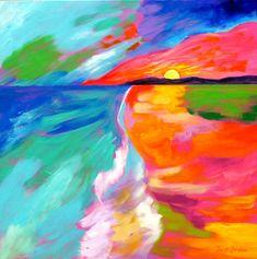 Sun Colors 5 ocean painting seascape sunset by faithcolors Sun Painting, Rainbow Painting, Large Painting, Colorful Artwork, Whimsical, Sunrise, Original Paintings, Ocean, Faith