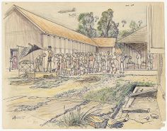 Beautiful drawings.  Journaling, pencils, and paper were all forbidden in the camps so these are rare.  Japanese occupation in Indonesia internment camp drawing