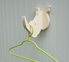 Wall hooks - Rhino wall hook: playful wooden rhino head wall hanger for coats…