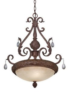 Designers Fountain Lighting 9145 AO Kadapa Collection Three Light Hanging Pendant Chandelier in Ancient Oak Finish