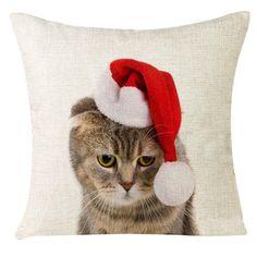 Xmas Christmas Cat Sofa Home Decoration Festival Pillow Case Cushion Cover