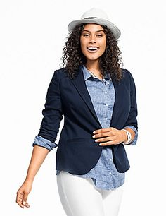 Look polished from the office through the weekend in our versatile double weave stretch suit jacket. Synthetic double-woven construction is ultra durable with an elegant sheen that flatters however you dress it. Designed to flatter, you'll love the way you look in this structured jacket with contoured fashion seams, notched lapels, single-button closure and long sleeves. Two welt pockets complete the look. Stretch lining for extra comfort. lanebryant.com