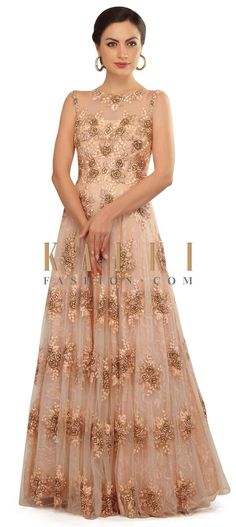 Light pink gown in zardosi and resham in floral motif only on Kalki