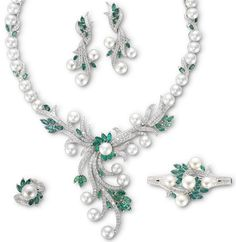 Diamond Emerald Pearl Jewellery Set from Mouawad (Flower of Immortality Collection)