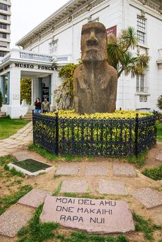large Moai (Easter Island statue made of volcanic rock), the only one in mainland Chile, in front of Fonk Museum. Easter Island Statues, Drake Passage, Andes Mountains, Galapagos Islands, Thinking Day, South America Travel, Continents, Great Places, Peru