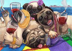 Painting - Wining Pile Of Pugs by Catherine G McElroy , Pug Puppies, Cute Dogs And Puppies, Pug Wallpaper, Iphone Wallpaper, Pug Quotes, Dog Artwork, Pug Art, Black Pug, Pug Love