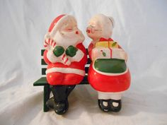 Whimsical Vintage Mr and Mrs Santa Claus Salt Pepper Shakers  Kissing on Bench by TreasureChestAttic on Etsy