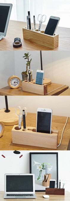 Multipurpose  Wooden Office Desk Organizer Collection iPhone Smart Phone Charging Station Stand Pen Pencils Holder Business Card Stand Holder