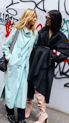 Ada Kokosar in a Loewe coat, The Row bag, and Gucci shoes and Gilda Ambrosio in Ada Kokosar for & Other Stories