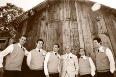 Sweater vests for the groom's men! Freaking adorable. Perfect for a more casual wedding.