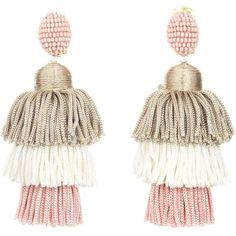 Oscar de la Renta Grapefruit Long Silk Tiered Tassel Earrings (€365) ❤ liked on Polyvore featuring jewelry, earrings, long tassel earrings, anchor earrings, tassel earrings, long clip on earrings and nickel free clip on earrings