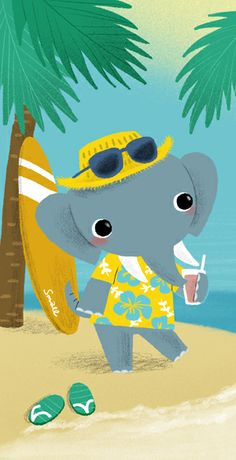 little elephant on vacay - illustration Elephas Maximus, Cute Disney Pictures, Indian Elephant, Little Elephant, Safari Animals, Kawaii Cute, Cute Illustration, Poster Prints, Posters