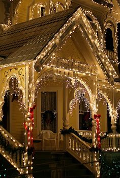 If you are looking for front porch decorating ideas for Christmas, then I bet you won't find any Christmas front Porch decorating ideas as gorgeous as these Noel Christmas, Merry Little Christmas, Outdoor Christmas, All Things Christmas, Winter Christmas, Victorian Christmas, Victorian Houses, Victorian Porch, Christmas Christmas