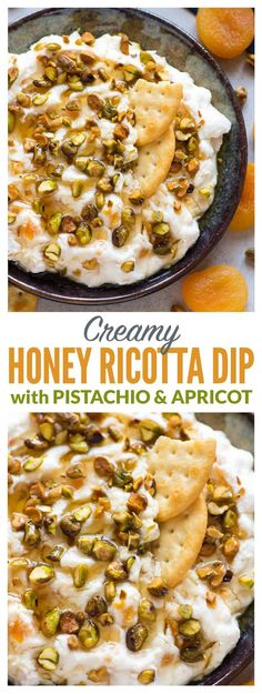 Creamy Honey Ricotta Cream Cheese Dip with Pistachio and Apricot. Easy and delic… Creamy Honey Ricotta Cream Cheese Dip with Pistachio and Apricot. Easy and delicious recipe served with bread and crackers. One of our favorite appetizers for parties! Gourmet Appetizers, Appetizers For Party, Appetizer Recipes, Easy Appetizer Dips, Girls Night Appetizers, Parties Food, Easter Recipes, Party Dips, Lunch Snacks