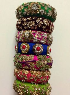#pintrest@Dixna deol Silk Thread Bangles Design, Silk Bangles, Bridal Bangles, Hand Jewelry, Fabric Jewelry, Handmade Jewelry, Diy Jewelry, Fancy Jewellery, Thread Jewellery
