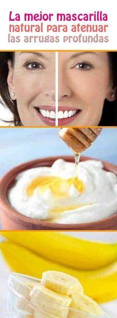 La mejor mascarilla natural para atenuar las arrugas profundas. Ingredientes: + ¼ de taza de yogur natural (62 g), + 1 cucharada de miel (25 g), + 2 cucharadas de jugo de naranja (20 ml), + ¼ de taza de plátano (75 g).