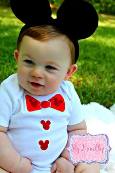 Mickey Mouse Bow Tie  Appliqued TShirt by SkyLynnClips on Etsy, $12.00