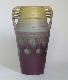 "Rare Weller Pottery Jewell matte purple vase with cutout reticulated handles | Unsigned | 11.25""h x 6.5""w"