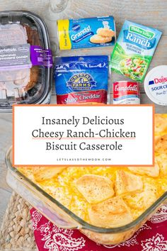 Fast Cheesy Ranch-Chicken Biscuit Casserole Recipe. Have a delicious dinner on your table in less than 30 minutes. Cheesy Chicken Recipes, Chicken Marinade Recipes, How To Cook Chicken, Chicken Biscuit Casserole, Sunday Dinner Recipes, Family Kitchen, Suppers, Delicious Recipes, Casseroles