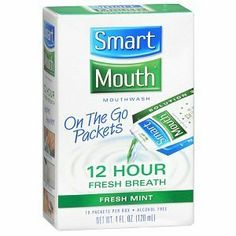 Smartmouth 12 Hour On-the-go Mouthwash Packets, Fresh Mint 10 Each (Travel Size) -3 Pack for sale