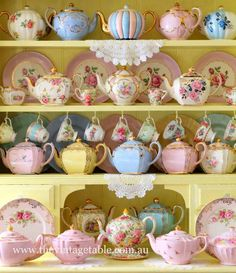 teapots I think mom would go crazy over the one in the upper right corner with the blue roses.