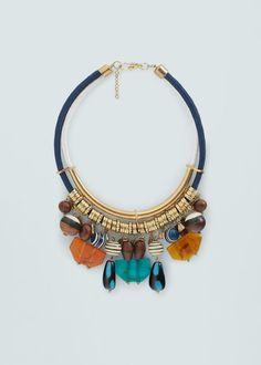 Collar abalorios combinados - Bisutería de Mujer | MANGO España