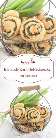 Bärlauch Fingerfood - ein Rezept für Bärlauch-Kartoffelschnecken mit Bärlauch-Füllung. Rezept auch fürs Buffet