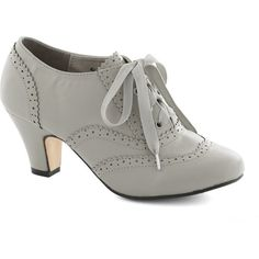 Vintage Inspired Dance Instead of Walking Heel ($20) ❤ liked on Polyvore featuring shoes, heels, grey, grey shoes, heeled oxford shoes, grey oxfords, lace heel shoes and gray shoes