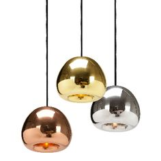 Tom Dixon Void Mini Light: Tom Dixon Void Mini Light is a pendant light referencing the Olympic medals. Solid brass sheets are pressed, spun and brazed to form a double wall shade.   -The double walls reflect and soften the light emitted from a concealed halogen bulb. -Hand polished to create a mirrored surface which is then lacquered to maintain a high gloss finish.