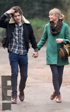 I love taylor's forest green coat, scarf, vintage bag, and brown laceup booties <3 and harry :)