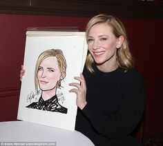 Cate Blanchett celebrated the unveiling of their caricatures are the world-famous Sardi's Restaurant in New York.