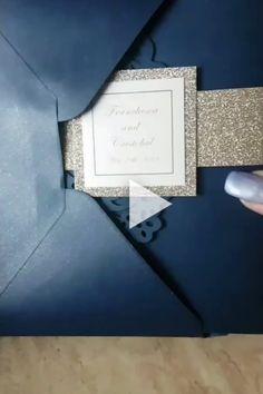 New Diy Wedding Invitations Elegant Navy Blue Ideas Glitter Wedding Invitations, Pocket Wedding Invitations, Diy Invitations, Elegant Wedding Invitations, Wedding Stationery, Diy Wedding Video, Wedding Cards, Dream Wedding, Trendy Wedding