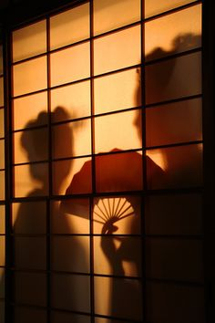 Japan - Maiko silhouette in shoji screen. SHOJI SCREEN! THAT'S THE WORD I WANTED FOR MY STORY!