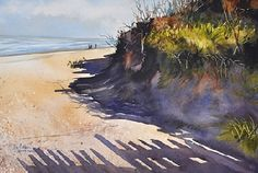 """""""Are We There Yet"""" by Kay Barnes note shadow of fence on sand Watercolor Wave, Watercolor Landscape, Floral Watercolor, Watercolor Paintings, Watercolor Architecture, Shadow Art, Wonderwall, Water Colors, Beach Art"""