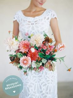 Bouquet Breakdown: Colorful Vineyard Wedding Inspiration: http://www.stylemepretty.com/2015/10/10/bouquet-breakdown-colorful-vineyard-wedding-inspiration/   Photography: Sarah Kate - http://sarahkatephoto.com/