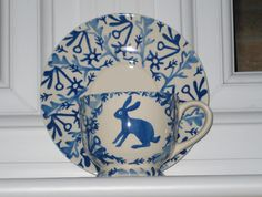 Emma Bridgewater Studio Special Mark Hearld Hare Cup & Saucer for Collectors Day 2010 Blue And White China, Blue China, Love Blue, Pottery Cafe, Young Rabbit, Emma Bridgewater Pottery, Teapots And Cups, Teacups, Blue Bunny