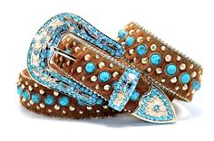 Turquoise Rhinestone With brown Faux Horse Fur Western Cowgirl Leather Belt