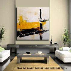 Large Abstract Yellow art ORIGINAL 48Abstract by ModernArtbyAda, $329.00