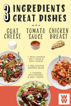 Goat cheese, chicken and tomato sauce are the stars of these three delicious dishes! Find the recipes in this months issue of Weight Watchers magazine!