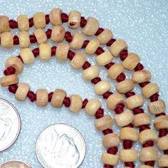 108 Tulsi Holy Basil Hand Knotted Mala Rough Beads Necklace - Karma Nirvana Meditation 7-8 mm Prayer Beads For Awakening Chakra Kundalini