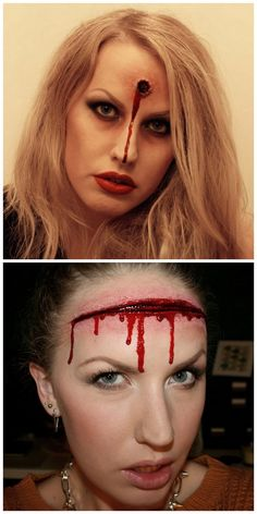 DIY Halloween Makeup Tutorials from Sandra Holmbom. For more Halloween and cosplay makeup from Sandra Holmbom go here: halloweencrafts.tumblr.com/tagged/psychosandra Top Photo: Bullet Makeup Tutorial here. This is one of her earlier tutorials and isn't translated so I used Chrome to translate from Swedish to English. Bottom Photo: Head Wound Makeup Tutorial here. Tutorial in Swedish and English.