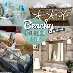 Beach themed decor ideas & inspirations for a summer bathroom!