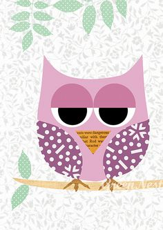 Cute Pink Owl with polka dots Collage - Girls Print Nursery Art, Baby Room Decor, Kids, Nursery Decor by Green Nest, via Flickr
