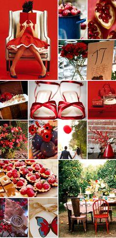 Ideas apasionantes para bodas en rojo - weddings in red inspiration board