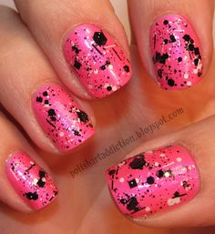 China Glaze - Pink Voltage ; Lynnderella - Connect The Dots