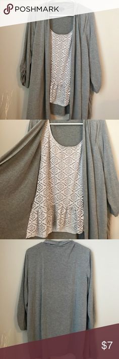 Gray shrug with lace cami Cotton grey shrug with built in white lace tank. Cute but comfy 🤓 style with minimal effort. Tops Blouses