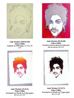 Warhol portraits of Prince. Fushia Prince and works on paper Warhol Paintings, Unique Paintings, Roger Nelson, Prince Rogers Nelson, Andy Warhol, Portraits, Paper, Art, Art Background